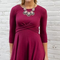 A Winter Wednesday Crossover Front Jersey Fit and Flare Dress - Burgundy