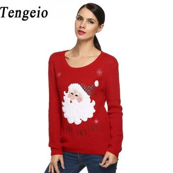 Tengeio Christmas Sweater Jumper Women knitted Cute Sweaters Reindeer Snowman Autumn Winter Pullovers 2017 Pull Femme Hiver 610