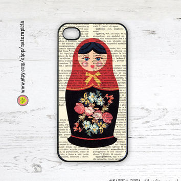 Matryoshka Russian doll on vintage dictionary background iPhone case 4/4S - iPhone case 5/5S -Galaxy S4 case -Design by Natura Picta-NP008