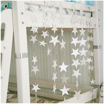 DKF4S Wall Hanging Paper Star Garlands 4m Long Birthday String Chain Wedding Party Banner Handmade Kids Room Door Christmas Home Decor
