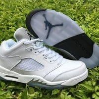 Air Jordan 5 Low White/Silver Basketball Shoes 36--46