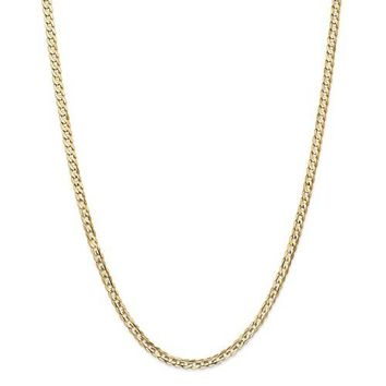 14k Yellow Gold 3.8mm Concave Open Curb Chain