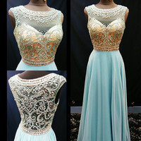 A-line Scoop Neck Beaded Bodice Baby Blue Chiffon Skirt Prom Dress APD1634