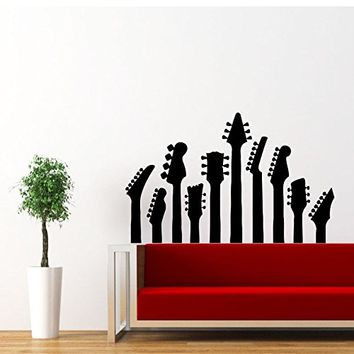 Guitar Wall Decal Electro Jazz Musical Instrument Decals Vinyl Sticker Home Interior Recording Music Studio Wall Decor for Any Room Housewares Mural Design Graphic Bedroom Wall Decal Nursery Baby Kids Children's Room (5897)