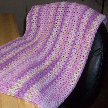 Baby Blanket and Hat, Handmade Crochet, Pastel Lilac, Yellow, Blue and Green, Baby Yarn
