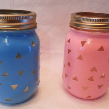 Painted Mason Jars- Triangle Pattern- Mason Jar Decor- Home Decor- Trendy Home Decor