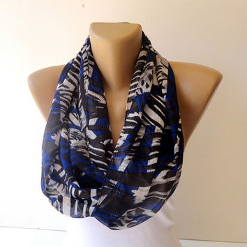 fashion infinity loop scarf , scarves,eternity scarf for women, darkblue white black chiffon trendscarf