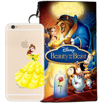Disney's Beauty and the Beast Belle Jelly Clear Case For Apple Iphone 7 + Pouch