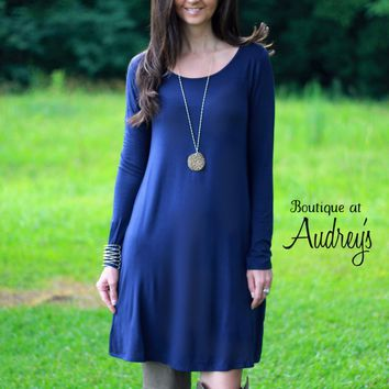BLACK FRIDAY SPECIAL Navy Blue Long Sleeve Dress