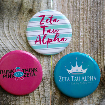 "3 Zeta Tau Alpha, ZTA, 2.25"" Round Button. Pin Back Sorority Buttons"