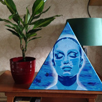 Womans Face painting,triangle canvas,stencil art,spray paints,skin deep series,blues,abstract,Europe,handmade,home,living,canvas art,urban