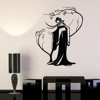 Vinyl Wall Decal Geisha Japanese Woman Fan Sakura Tree Stickers Unique Gift (979ig)