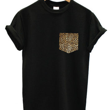 real stitched leopard print pocket t-shirt hipster indie swag dope hype black white men woman cute