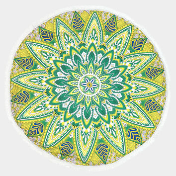 Green & Yellow Ethnic Flower Pattern Round Cotton Beach Towel with Tassel Trim, Beach blanket, Rug