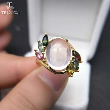 Vintage Ethiopian Rose Quartz Oval 10*12mm with  Tourmaline Gemstone Ring