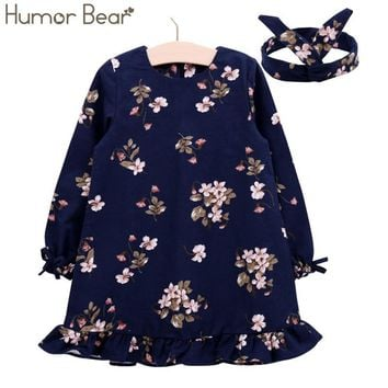 Humor Bear Girls Dress Brand Princess Dress Autumn Eruopean and American Style Hair band Baby Kids Dress For Children Clothes
