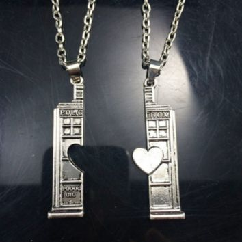 Doctor Who Tardis Phone Booth Double Heart Couples Necklace For Lovers