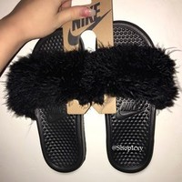 Nike Faux Fur Slides Custom Made