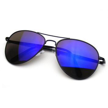Flash Revo Mirrored Lens Premium Metal Frame Aviator Sunglasses