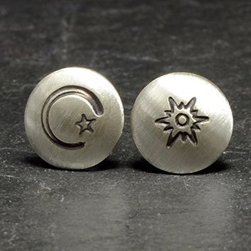 Sun Moon and Stars sterling silver stud earrings