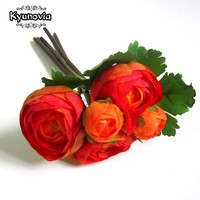 Kyunovia Silk Peony Bundle 5 Heads Wedding Flowers Artificial Peonies DIY Bridal Bouquet Flower Girl Bridesmaids Flower FE85