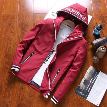 HCXY 2017 New Arrival Spring Men's Jackets Solid Fashion Coat Male Casual Slim Hooded Bomber Jacket Men Outerdoor Overcoat M-3XL