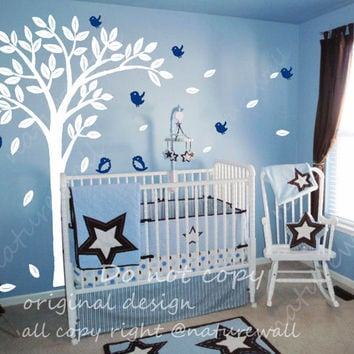 Kids wall decals Tree decal baby decal nursery decal room decor wall decor wall art-lovely tree with birds