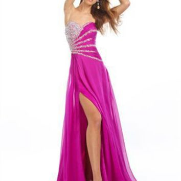 Sexy Slit A-line Sweetheart Beaded Ruched Chiffon Prom Dress PD1751