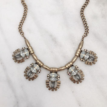 Statement Necklace Set In Gold Tone with Smokey Gray Stones