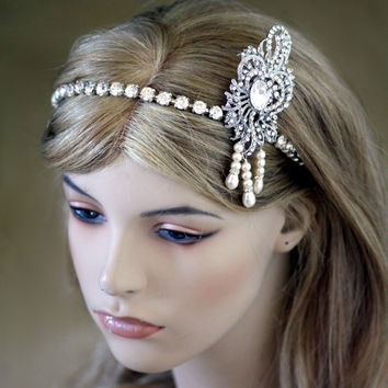 Great Gatsby Vintage 1920's Art Deco Flapper Headpiece headband - Hair Accessories, Wedding Headband,  pearl headband, Crystal headband