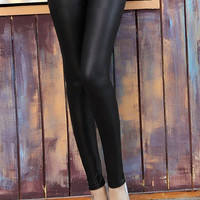 Black Faux Leather Side Zipper Skinny Pants