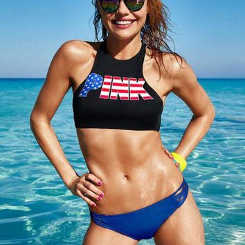 "Victoria's Secret Sexy Women National Flag ""Pink"" Letter Print Summer Two Piece Bikini Swimsuit Bathing"