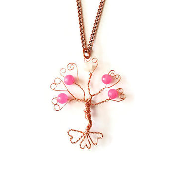 Sale - Pink Candy Jade and Copper Floating Tree of Life Pendant Necklace. Valentine's Day Heart Tree of Life Necklace. Pink Heart Pen...