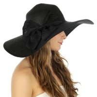 HauteChicWebstore Lola Stripe Big Bow Floppy Sun Hat Black - www.shophcw.com