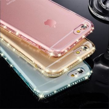 USLION Diamond Bling Transparent Phone Case Cover for iPhone 6 6S Plus Soft TPU Clear Cover For iPhone X XR XS Max 8 7 Plus 5 SE