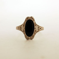 Vintage 10kt White Gold Onyx Ring by SarahNicolle on Etsy