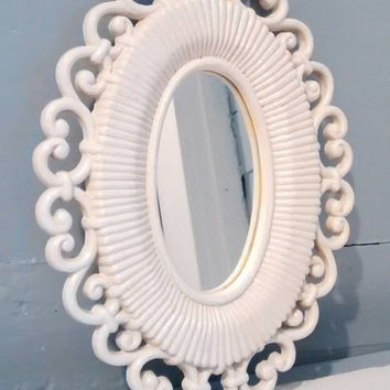 Mirror, Small, Oval Mirror, Wall Mirror, Framed Mirror, Cottage Chic Vintage,