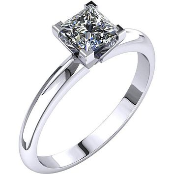 Certified Four Prong Solitaire 1.0Ct. Princess Cut Diamond Engagement Ring