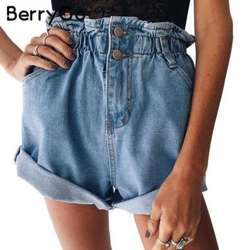 ESBONRZ BerryGo Casual blue hemming denim shorts Women button summer beach   black jeans shorts Female 2017 pocket high waist shorts