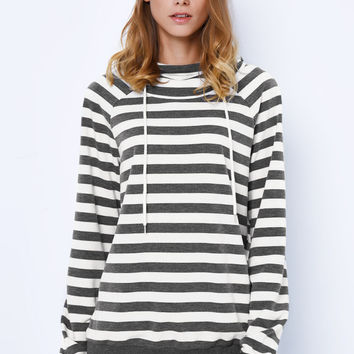 Cupshe Last Temptation Stripe Hooded Sweatshirt