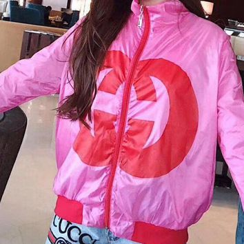 Gucci Women All-match Simple Casual Edgy Letter Long Sleeve  Sunscreen Coat