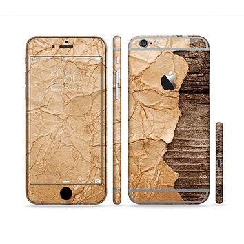 The Vintage Paper-Wrapped Wood Planks Sectioned Skin Series for the Apple iPhone 6/6s Plus
