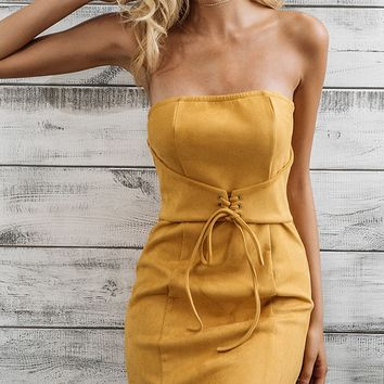 Yellow Bandeau Lace Up Front Bodycon Mini Dress