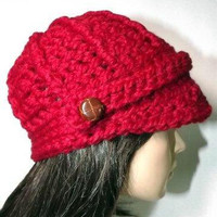Crochet Newsboy Hat- Womens Beanie With Button Tab- Cranberry Cardinal Red Winter Cap