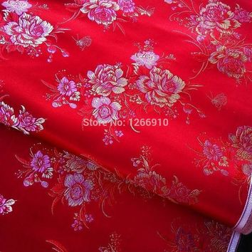 ICIKJG2 chinese silk brocade  fabric cheongsam cushion red back gold pink Peony flower examine Tapestry satin