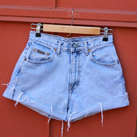 Vtg 90's Calvin Klein Highwaist Cutoffs denim Jean Shorts light wash 27 waist high rise