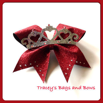 18 Red sparkle tiara princess cheer bow with rhinestones