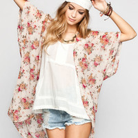 Full Tilt Vintage Floral Print Womens Kimono Cream Combo  In Sizes