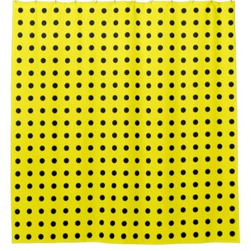 Elegant Black Polka Dot Pattern on Custom Yellow Shower Curtain