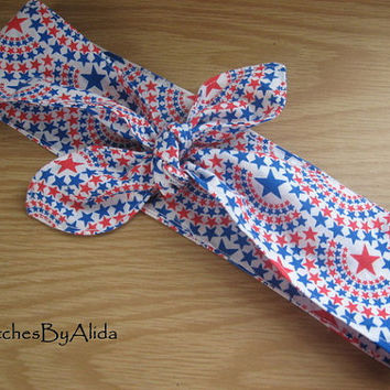 Hair Scarf, Bandana, Hair Bandana, Bandana Headband, PATRIOTIC Print , Hair Band, PinUp Bandana, Knotted HairBand, Boho Head Band #304